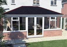 Replacement solid Double hipped lean to conservatory roof with frames