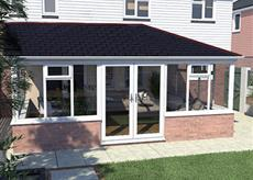 Single hipped lean to solid roof conservatory