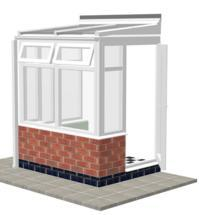 DIY Conservatories, Conservatory Design and Model 2DW Lean to 1950 wide x 1500mm