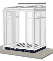 DIY Conservatories, Conservatory Design and Model 2FH Lean to 1950mm wide x 1500mm
