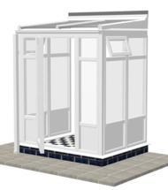 DIY Conservatories, Conservatory Design and Model 2FP Lean to 1950mm wide x 1500mm