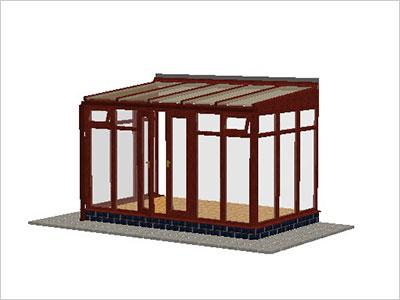 DIY Conservatories, Conservatory Design and Full Height 3697 X 2242 Rosewood (T3F)