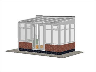 DIY Conservatories, Conservatory Design and Dwarf Wall 3697X 2242 White (T3D)
