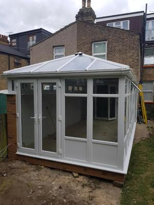 durabase conservatory with a 3-4 high wall